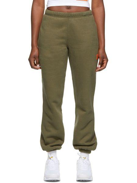 Зеленые свободные флисовые брюки Heron Preston фото