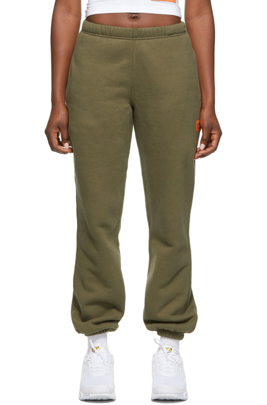 Зеленые свободные флисовые брюки Heron Preston, фото