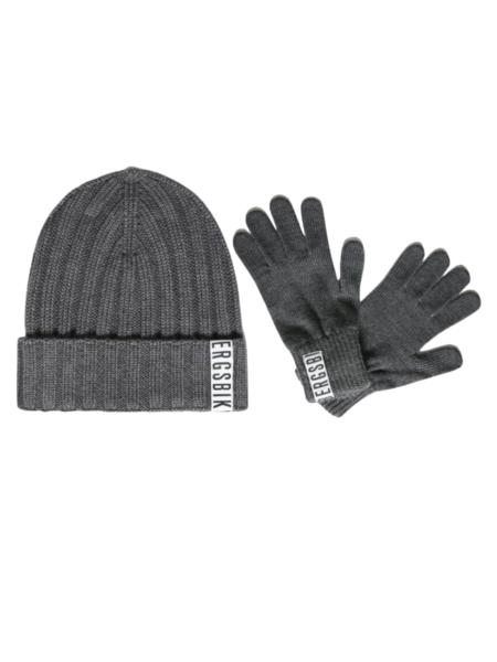 Комплект шапка и перчатки серого цвета Bikkembergs, фото