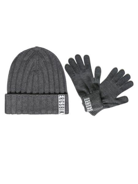 Комплект шапка и перчатки серого цвета Bikkembergs фото