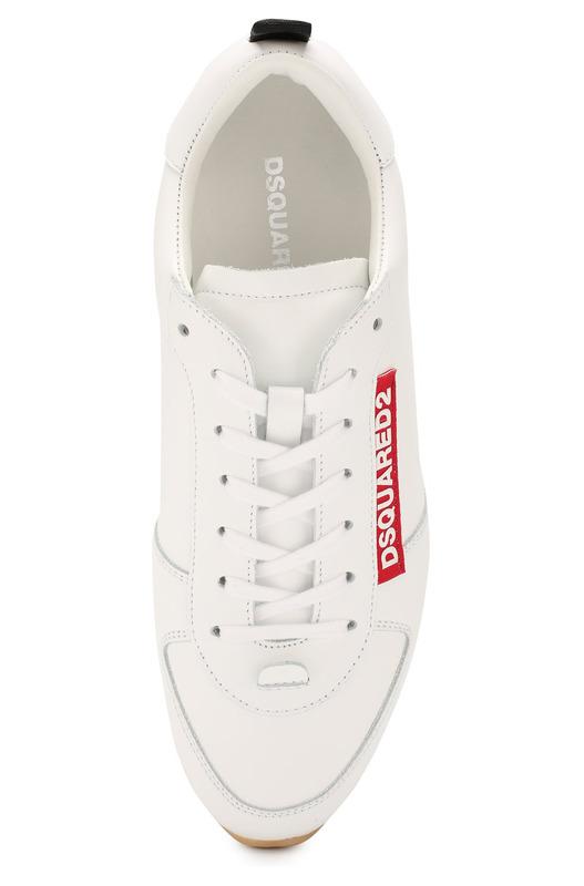 Кожаные белые кроссовки с логотипом Dsquared2