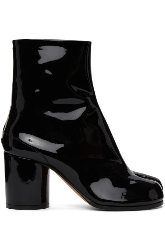 Черные лакированные сапоги MM6 Tabi