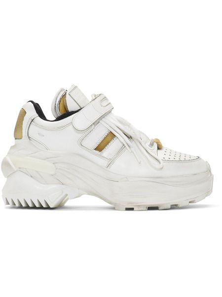 Белые классические кроссовки MM6 в стиле ретро Maison Margiela фото