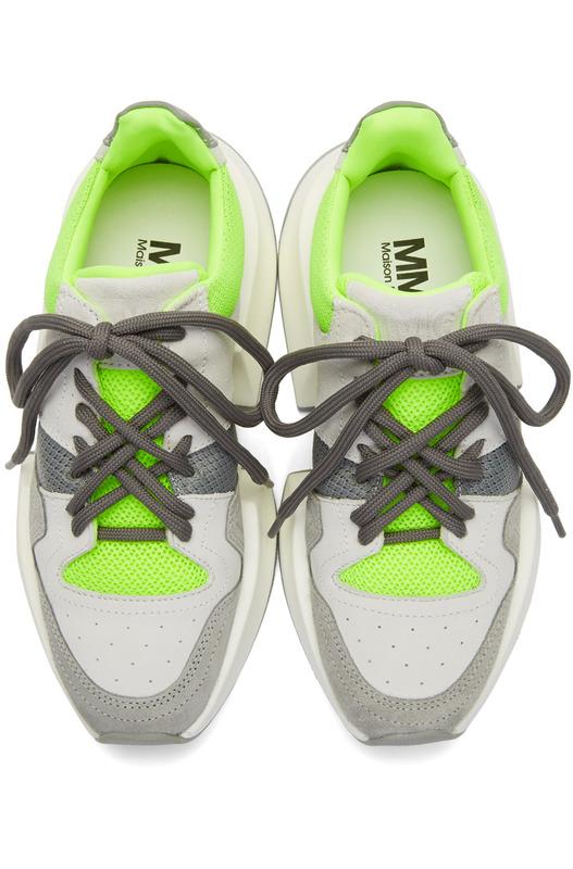 Серые и зеленые кроссовки на шнуровке Maison Margiela