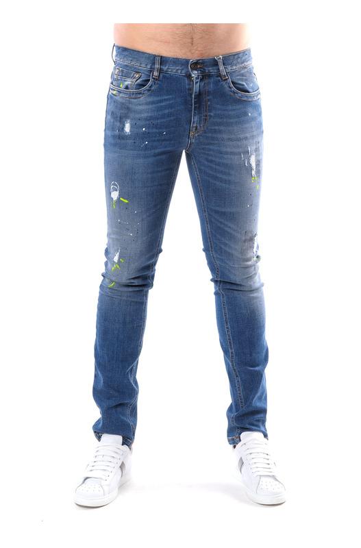 Мужские синие джинсы с потертостями Bikkembergs, фото