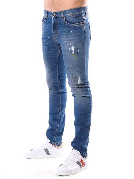 Мужские синие джинсы с потертостями