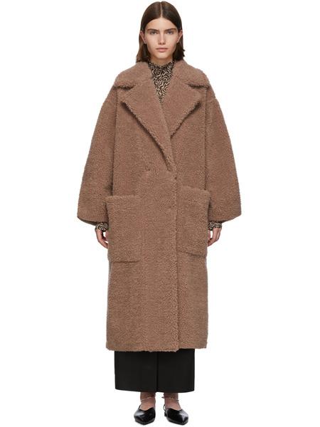 Длинное коричневое пальто из искусственного меха Nanushka фото