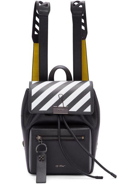 Черный рюкзак с желтыми шлейками Off-White фото
