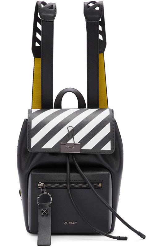 Черный рюкзак с желтыми шлейками Off-White