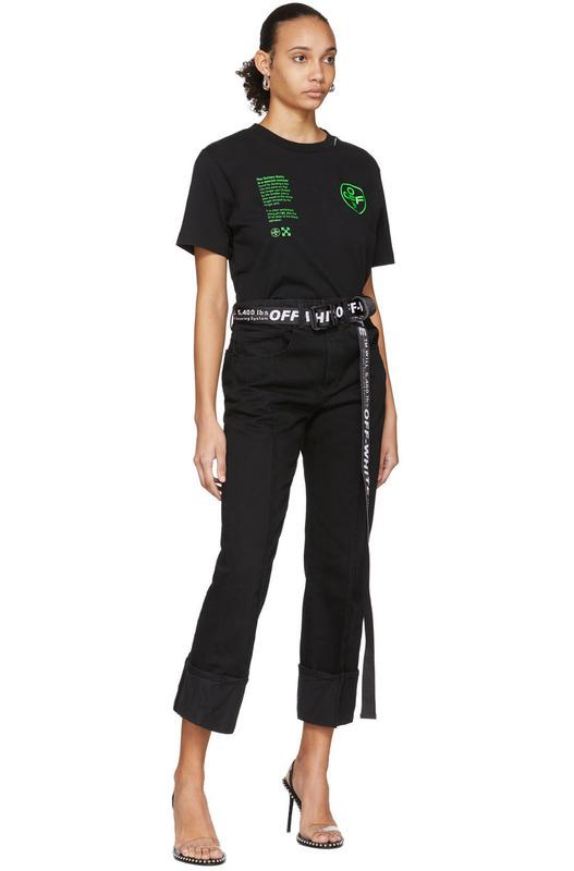 Черная футболка с зеленым принтом Off-White