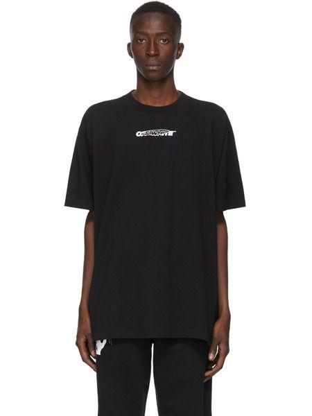 Черная футболка с принтом Hand Painters Off-White фото