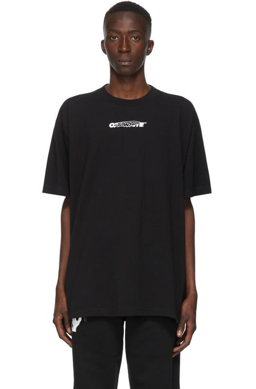 Черная футболка с принтом Hand Painters Off-White, фото