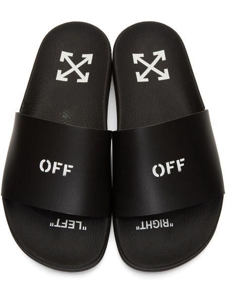 Черные шлепанцы с надписью 'Off'