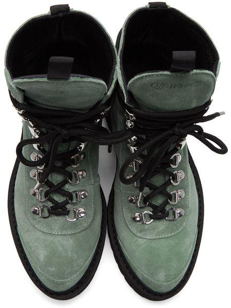 Зеленые замшевые ботинки