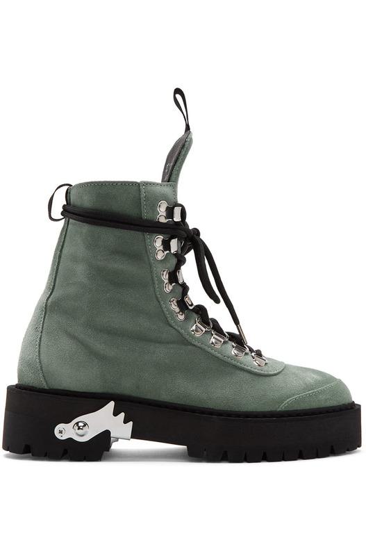 Зеленые замшевые ботинки Off-White