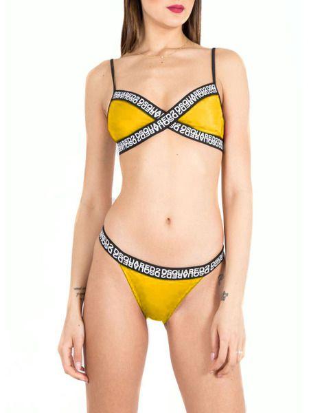 Раздельный купальник желтого цвета