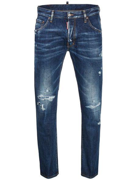 Синие джинсы с потертостями на колене Dsquared2 фото