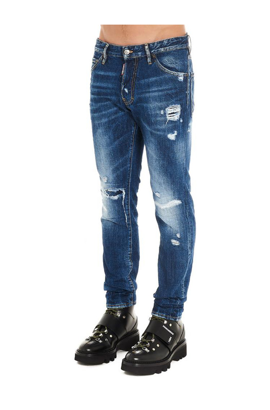 Синие джинсы с потертостями на колене Dsquared2