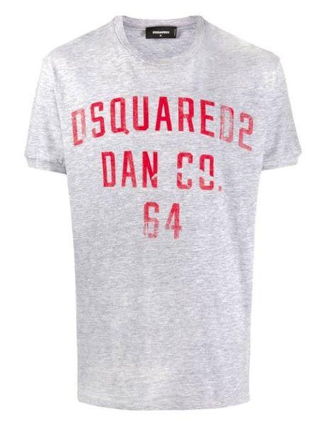 Серая футболка с логотипом Dsquared2 фото