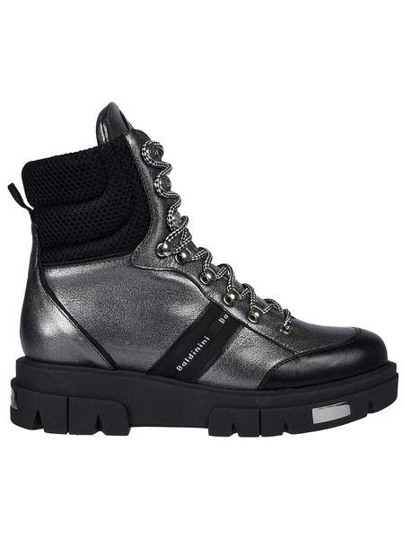 Серебряные ботинки на шнуровке Baldinini фото