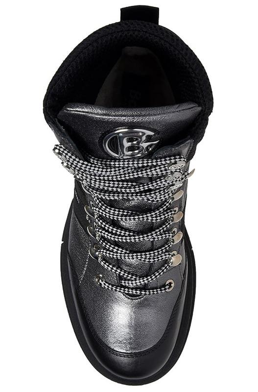 Серебряные ботинки на шнуровке Baldinini, фото