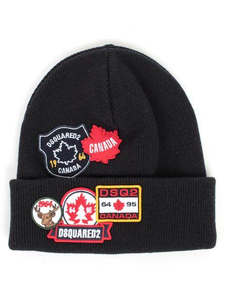 Шерстяная шапка с нашивками Dsquared2 фото