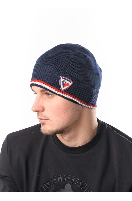 Синяя шапка бини с нашивкой Rossignol, фото