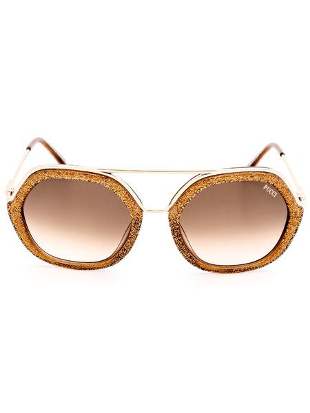 Солнцезащитные очки в оправе с золотистым тиснением EP0014 47F Emilio Pucci, фото