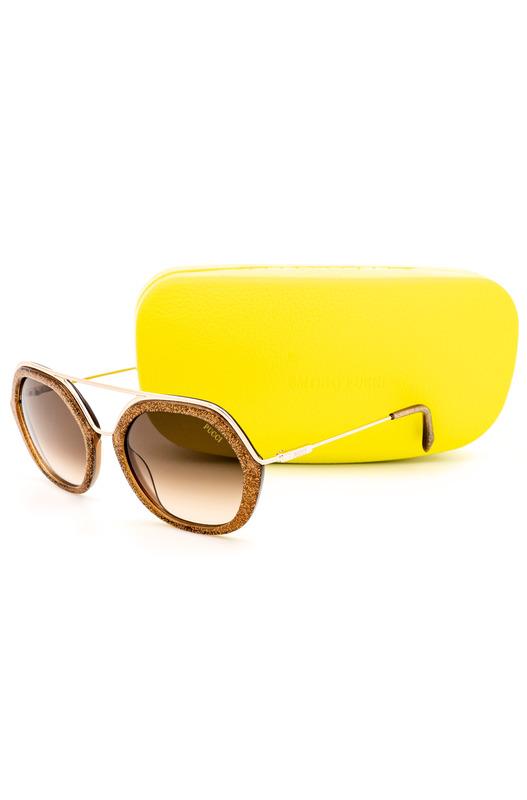 Солнцезащитные очки в оправе с золотистым тиснением EP0014 47F Emilio Pucci