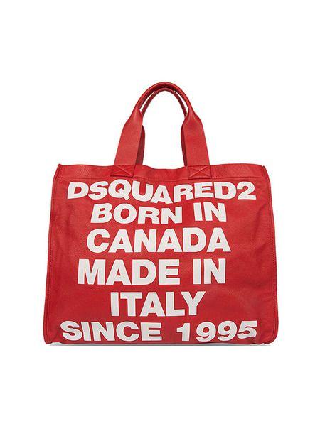 Красная сумка-шоппер со съемной косметичкой Dsquared2 фото