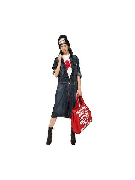 Красная сумка-шоппер со съемной косметичкой