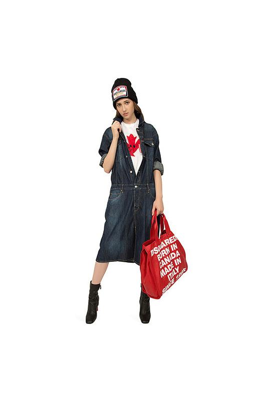 Красная сумка-шоппер со съемной косметичкой Dsquared2, фото