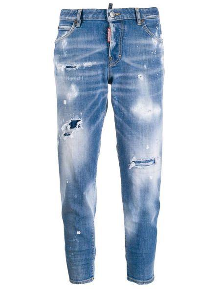 Укороченные джинсы с потертостями Dsquared2 фото