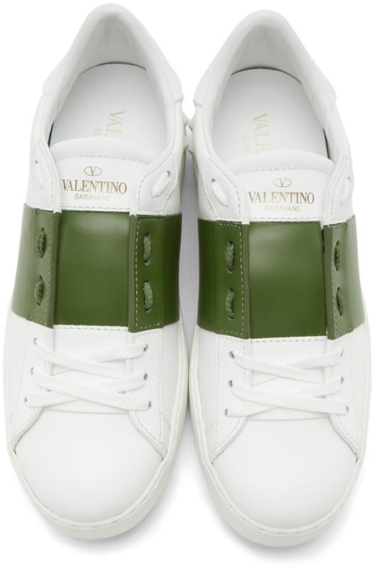 Белые кеды с зеленой полоской Open Valentino, фото