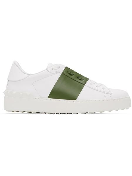 Белые кеды с зеленой полоской Open Valentino фото